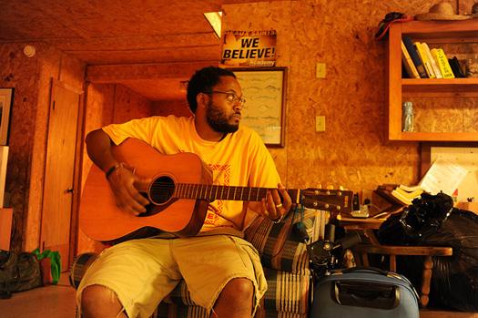 Terrell Clark at Camp on Grand Isle