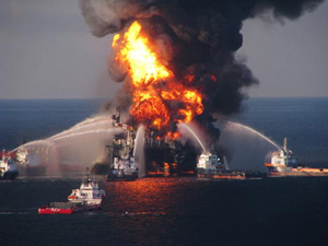 Deepwater Horizon Fire - Photo, US Coast Guard
